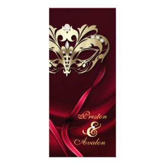 Gold Masquerade REd Jeweled Wedding Program Rack Card
