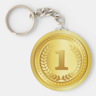 Gold medal 1st place winner button key ring