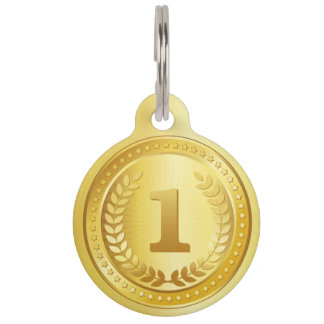 Gold medal 1st place winner button pet tag