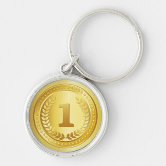 Gold medal 1st place winner button Silver-Colored round key ring