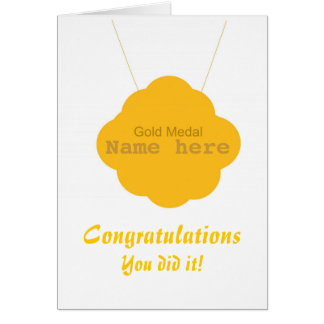Gold Medal Congratulations add name front Card