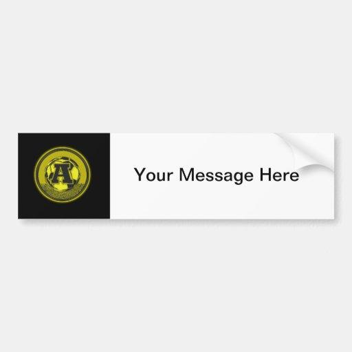 Gold Medal Soccer Monogram Letter A Bumper Stickers