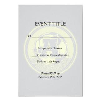 Gold Medal Soccer Monogram Letter A 3.5x5 Paper Invitation Card