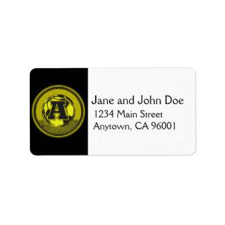 Gold Medal Soccer Monogram Letter A Address Label
