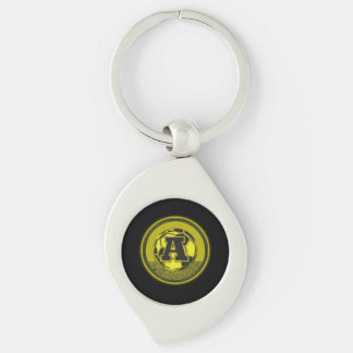 Gold Medal Soccer Monogram Letter A Silver-Colored Swirl Key Ring
