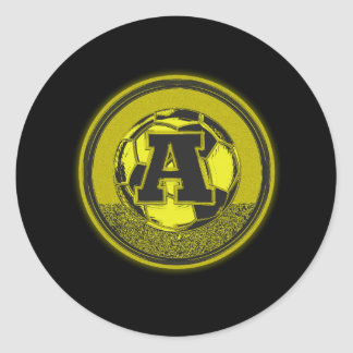 Gold Medal Soccer Monogram Letter A Round Stickers