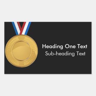 Gold Medal Rectangular Sticker