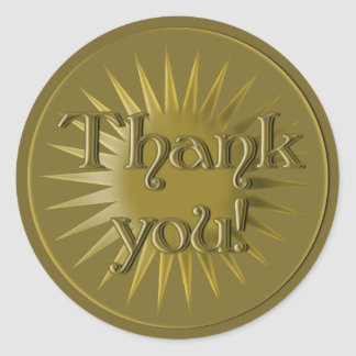 Gold Medal Style Thank You Stickers
