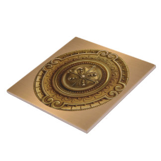 Gold Medallion Ceramic Tile
