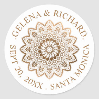 Gold Medallion Mandala Wedding Save the Date Classic Round Sticker