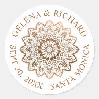 Gold Medallion Mandala Wedding Save the Date Round Sticker