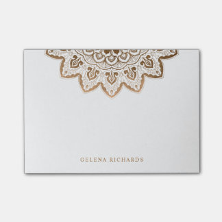 Gold Medallion Shimmer Elegant Mandala Horizontal Post-it Notes