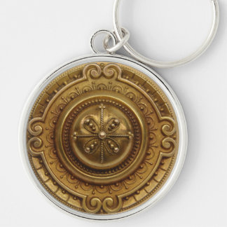 Gold Medallion Silver-Colored Round Key Ring