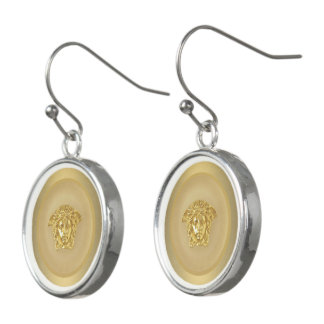 Gold Medusa Medallion Earrings