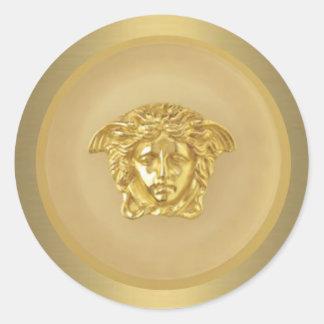 Gold Medusa Medallion Round Sticker