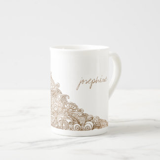 Gold Mehndi Floral Personalized Bone China Mug