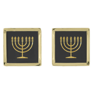 Gold Menorah Gold Finish Cufflinks