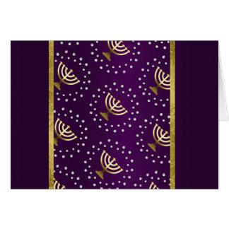 Gold Menorah Hanukkah on Purple Card