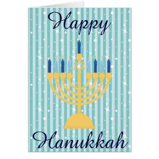 Gold Menorah Happy Hanukkah Card