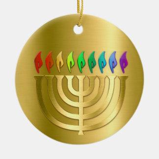 Gold Menorah Rainbow Flames Hanukkah Ornament