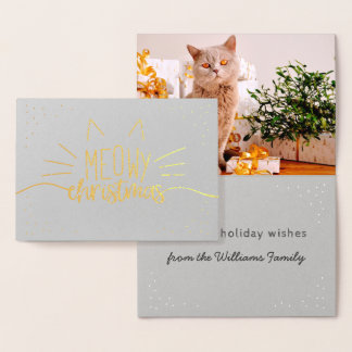 Gold Meowy Christmas Cat Photo Holiday Foil Card