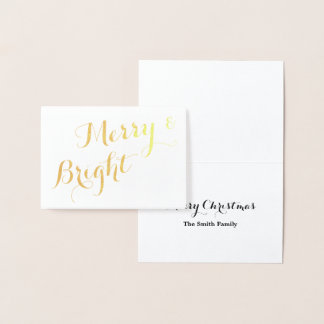Gold Merry and Bright Christmas Foil Card