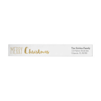 Gold, Merry and Bright Christmas Labels Wraparound Return Address Label