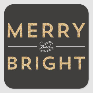 Gold Merry & Bright Christmas Stickers
