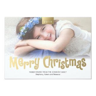 Gold Merry Christmas Custom Photo Modern Card 13 Cm X 18 Cm Invitation Card