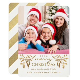 Gold Merry Christmas Holiday Holly Photo Card 11 Cm X 16 Cm Invitation Card