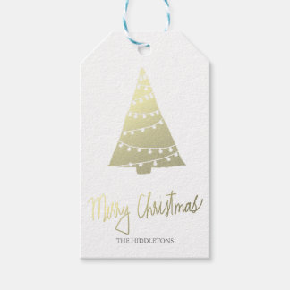 Gold Merry Christmas Modern Script Christmas Tree