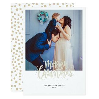 Gold Merry Christmas photo christmas greeting card