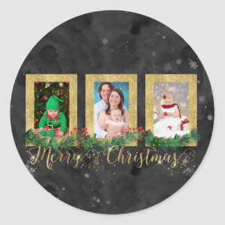 Gold Merry Christmas Photo Classic Round Sticker