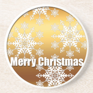 Gold Merry Christmas Snowflakes - Drink Coaster