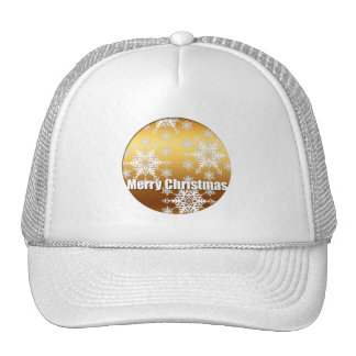 Gold Merry Christmas Snowflakes White Hat