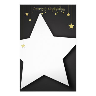 Gold Merry Christmas Stars Stationery Letterhead