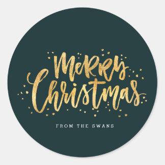 Gold Merry Christmas Sticker