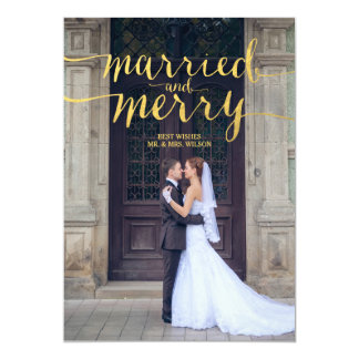 GOLD MERRY & MARRIED   HOLIDAY PHOTO CARD 13 CM X 18 CM INVITATION CARD