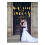 GOLD MERRY & MARRIED | HOLIDAY PHOTO POSTCARD