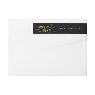 Gold Merry & Married   Holiday Wraparound Label Wraparound Return Address Label