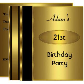 Gold Metal Black Mens 21st Birthday Party Man Card