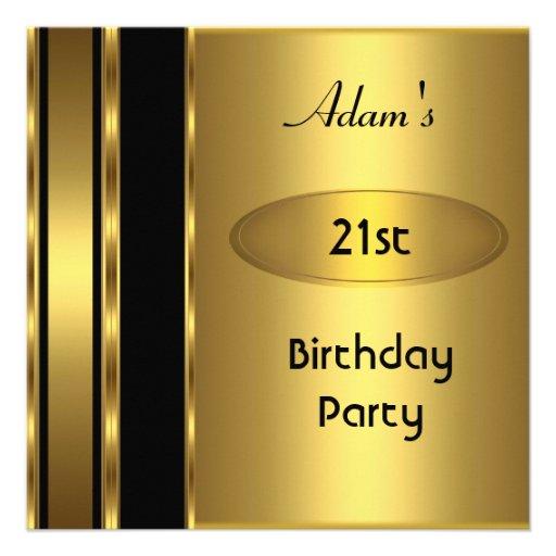 Gold Metal Black Mens 21st Birthday Party Man Invitation