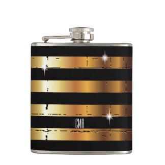 Gold Metal & Black Stripe | DIY Monogram Hip Flask