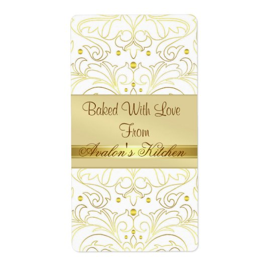 Gold Metal Damask Filigree Holiday Baking Label