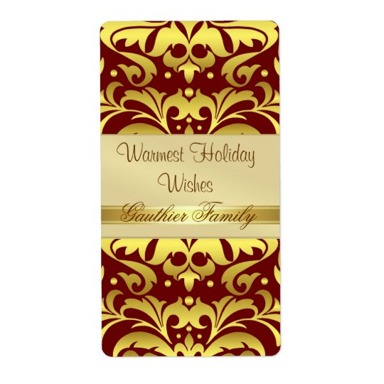 Gold Metal Damask Red Holiday Wine Label