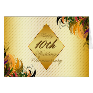 Gold Metal Floral Happy 10th Wedding Anniversary Greeting Card