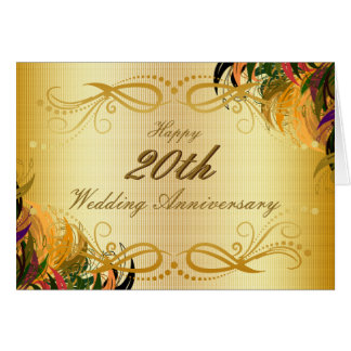 Gold Metal Floral Happy 20th Wedding Anniversary Card