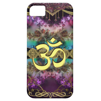 Gold Metal OM-Symbol on Fractal Tapestry iPhone 5 Covers