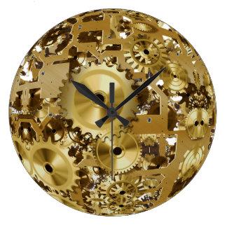 gold metal steampunk wall clock