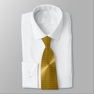 Gold Metallic and Polka Dots Unique Pattern Tie